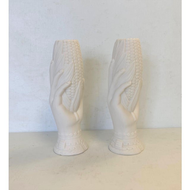 19th Century French Victorian White Parian Porcelain Hand Vases - a Pair For Sale - Image 9 of 10