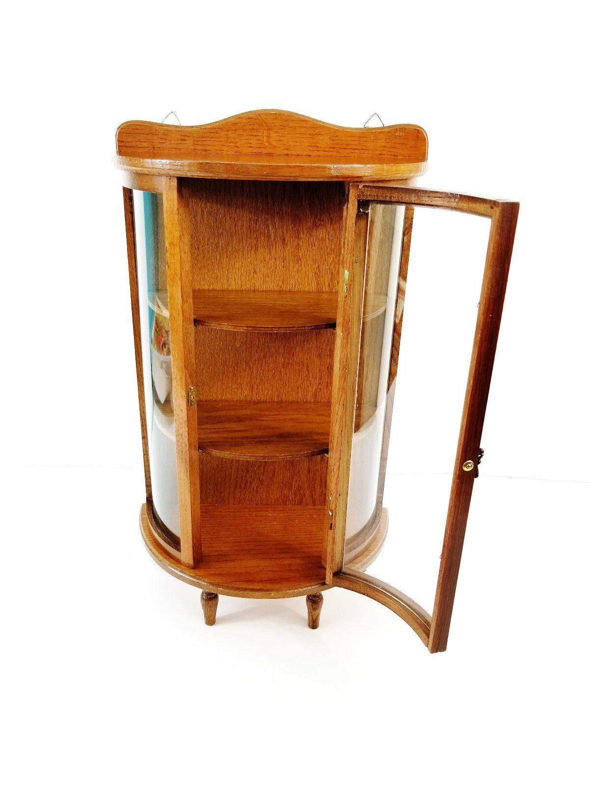 This Charming Wood Curved Glass Curio Cabinet Is Perfect For Displaying  Your Most Cherished Pieces!
