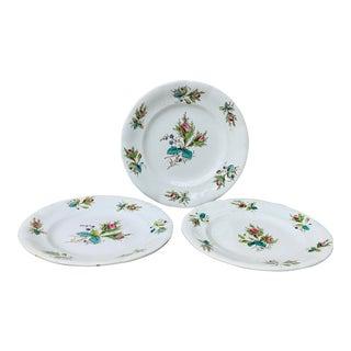 1900s Antique Keller & Guerin Luneville Dessert Plates-Set of 3 For Sale