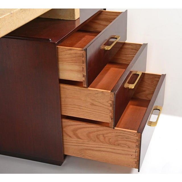 Metal Paul Frankl Cork and Mahogany Desk for Johnson Furniture 1950s For Sale - Image 7 of 8