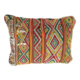 "Vintage Moroccan Sequined Edge Pillow - 16"" X 12"" For Sale"