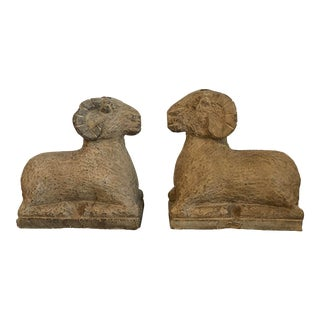18th Century Chinese Carved Stone Ram Figurines - a Pair For Sale