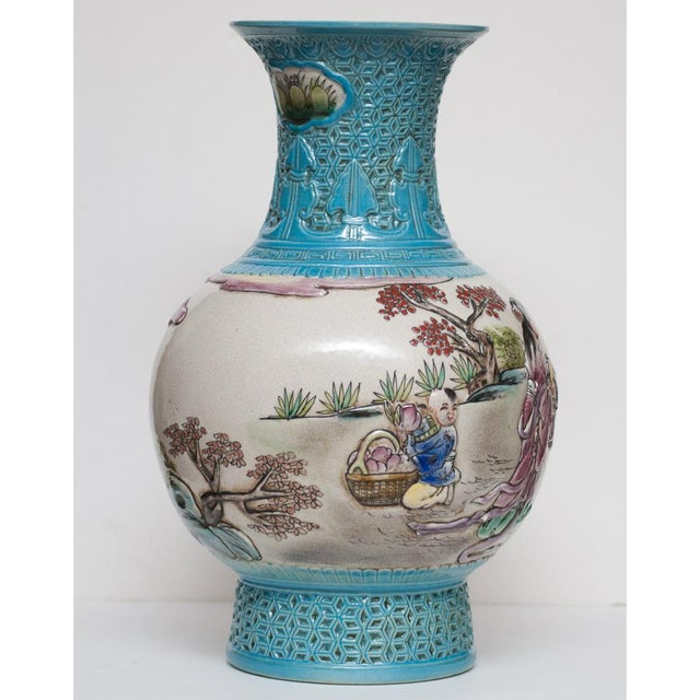 Early 20th C. Carved Famille Rose Vase - Image 6 of 11