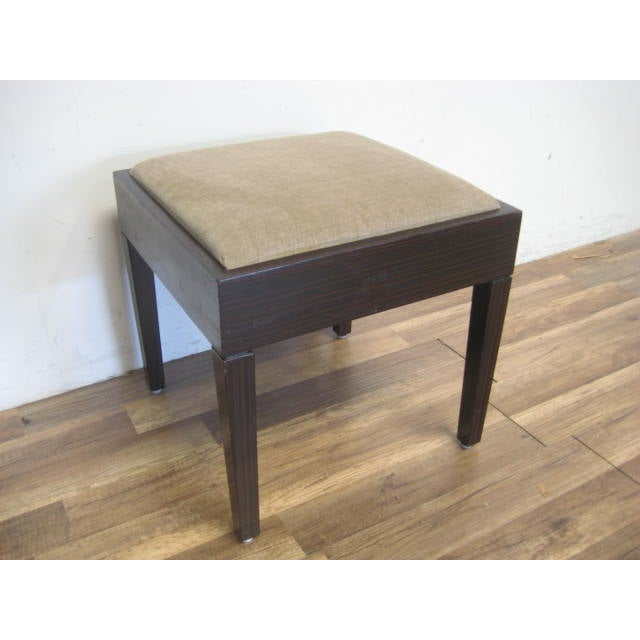 Amtrend Dark Wood Finish/Grey Upholstery Stool - Image 7 of 7