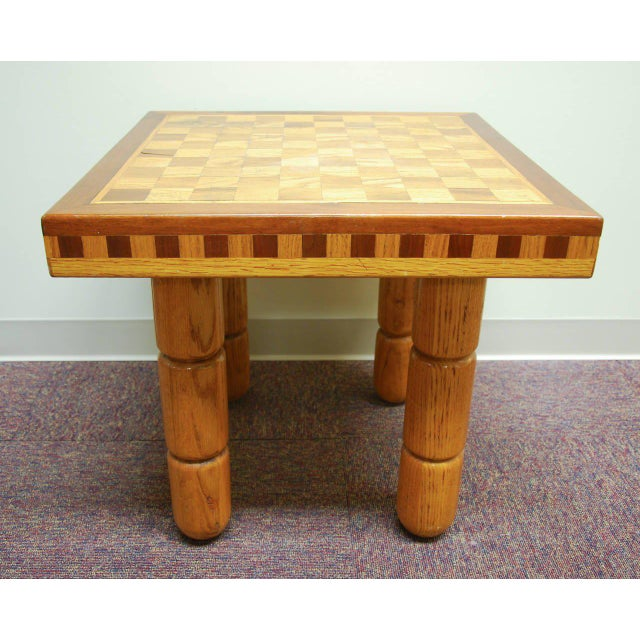 Oak Postmodern Oak and Walnut Inlay End Table, Circa 1980 For Sale - Image 7 of 11