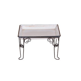 Morgan Industrial Iron Stand With White Serving Tray For Sale