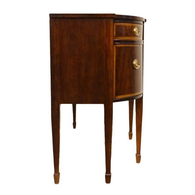 20th Century Hepplewhite Thomasville Furniture Mahogany Collection Demilune Sideboard/Buffet For Sale - Image 12 of 13