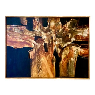 Vintage Abstract Oil Painting Signed Jonas Gerard 1982 For Sale