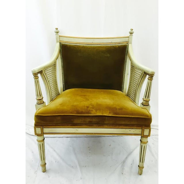 French-Style Gold Velvet & Cane Armchair - Image 9 of 11