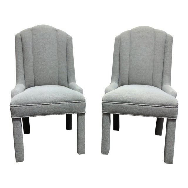 High-End Grey Channel Back Parsons Chairs - Pair 3 For Sale