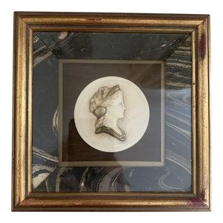 Antique Italian Framed Painted Miniature Grand Tour Plaster Silhouette Cameo Portrait Medallion For Sale