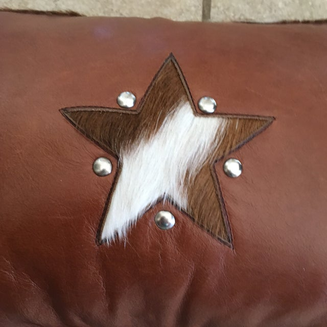 Country Handmade Leather & Cowhide Lumbar Texas Pillow For Sale - Image 3 of 11