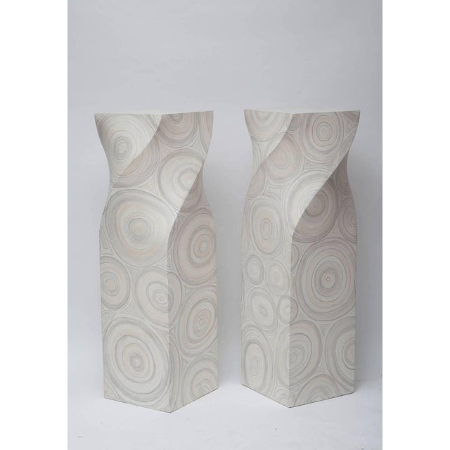 Pair of helix-twisted pedestals. Faux painted fiberglass, circa 1970. Top measures W14in. x D14in.