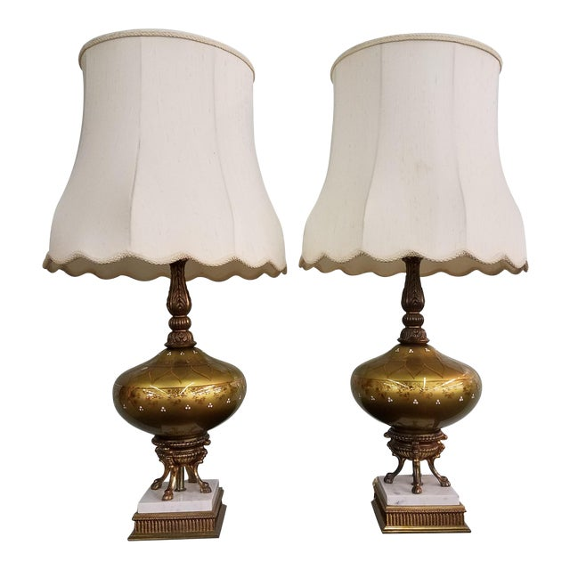 1950s Mid-Century Modern Gold Glass Globe Lamps - a Pair For Sale