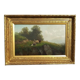 """Late 19th Century """"Sheep on a Hillside"""" American Hudson River School Style Landscape Oil Painting by Gunther Hartwick, Framed For Sale"""