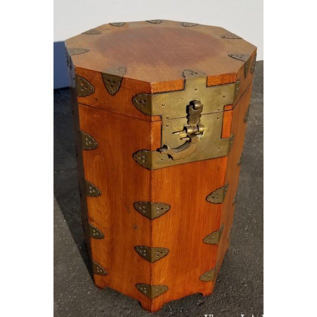 Vintage Oriental Asian Hat Box Storage Box /Stool Made in Korea 1938 For Sale - Image 13 of 13