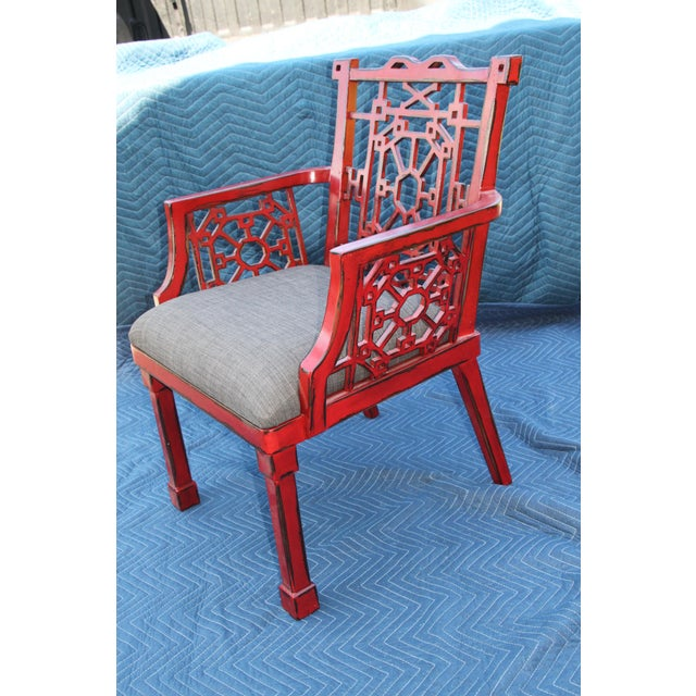 Uttermost Camdon Red Accent Chair For Sale - Image 6 of 6