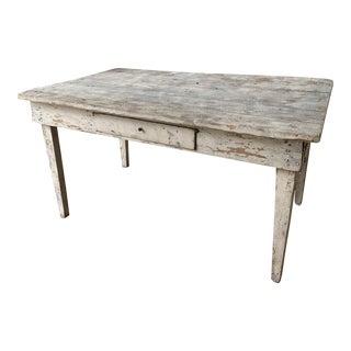 Antique French Provençal White Farm Table For Sale