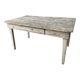 Antique Shabby Chic White Farm Table For Sale