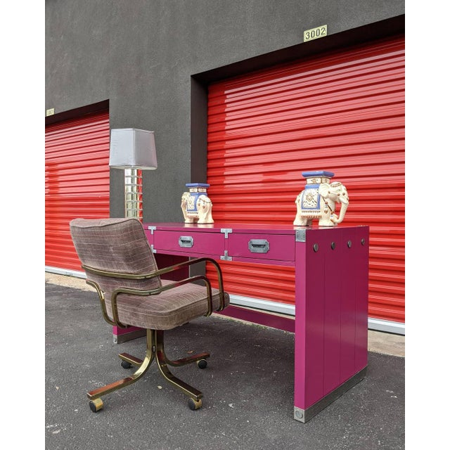 Bernhardt 1980s Glossy Raspberry Bernhardt Campaign Desk For Sale - Image 4 of 10