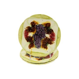 French Majolica Grape Plates - Set of 3 For Sale