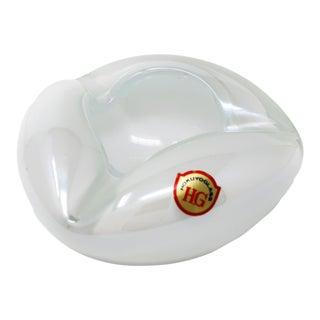 Vintage White Glass Ashtray by Hokuyo For Sale