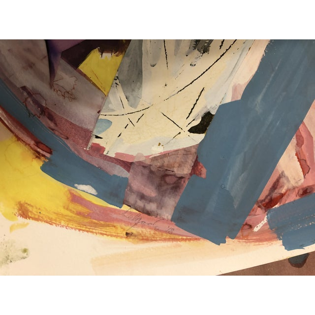 """Painting on paper by Diana Delgado. The piece is titled """"Cluster Study (Purple Drape)"""". 2018 Watercolor with collage on..."""