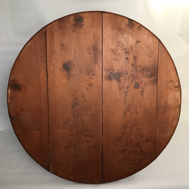 Mid Century Round Wood Table For Sale In Charlotte - Image 6 of 11