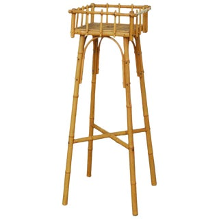 Austrian Art Deco Bamboo and Raffia Plant Stand For Sale