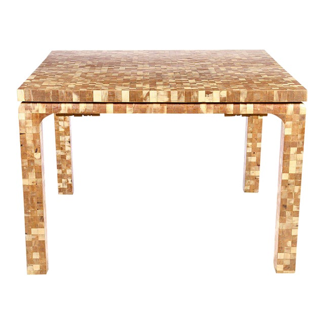 Boho Chic Inlaid Horn Dining Table With Leaves For Sale