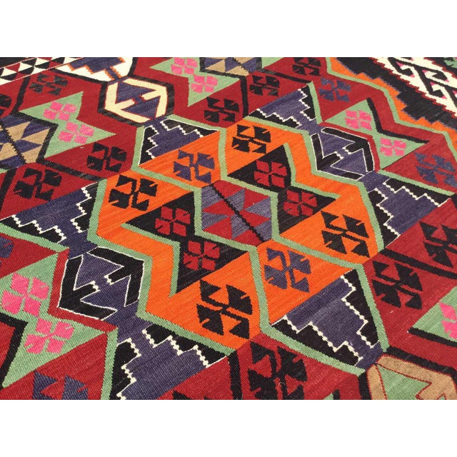 1960s Turkish Kilim Rug For Sale - Image 5 of 9