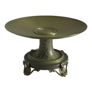 1890 Victorian French Solid Bronze Neoclassical Tazza For Sale