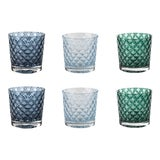 Image of Mindala Short Glasses, Blues and Green - Set of 6 For Sale