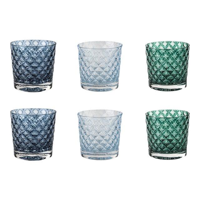 Mindala Short Glasses, Blues and Green - Set of 6 For Sale