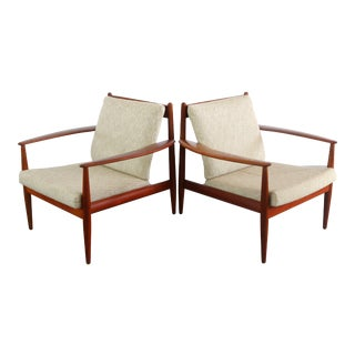 1960s Vintage Danish Modern Grete Jalk for France & Son Mid Century Teak Lounge Chairs- A Pair For Sale