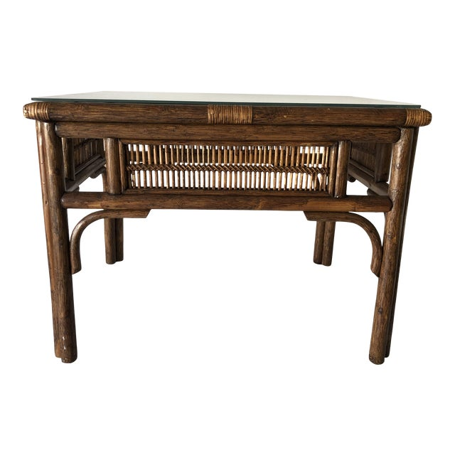 Rattan Asian Style Coffee Table W/Glass 28x22x20.5h Excellent For Sale