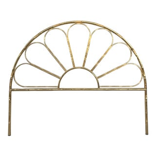 Mid-Century Modern Italian Faux Bamboo Gilt Metal Queen Headboard For Sale