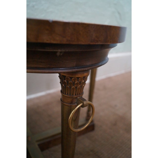 Mastercraft Mastercraft Vintage Burl Wood & Brass Side Table For Sale - Image 4 of 10