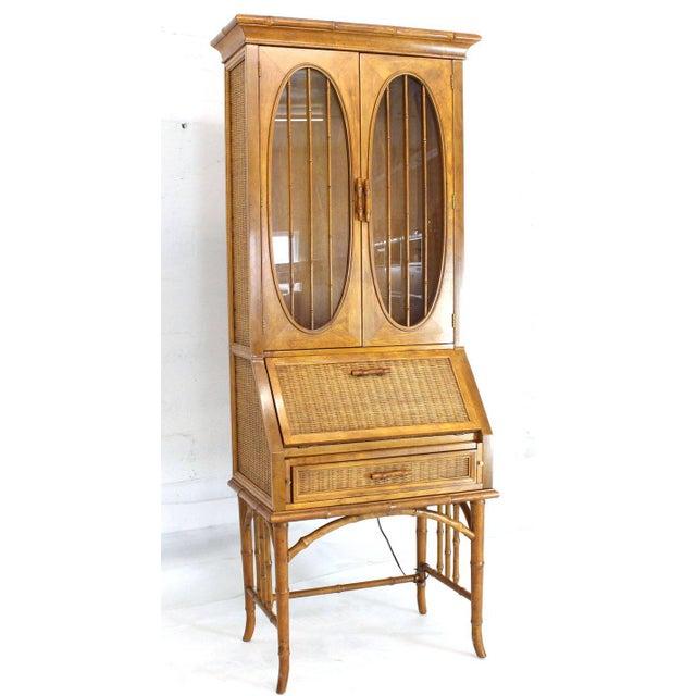 Mid-Century Modern 1970s Mid-Century Modern Faux Bamboo Rattan Light Fruitwood Finish Secretary Desk For Sale - Image 3 of 14