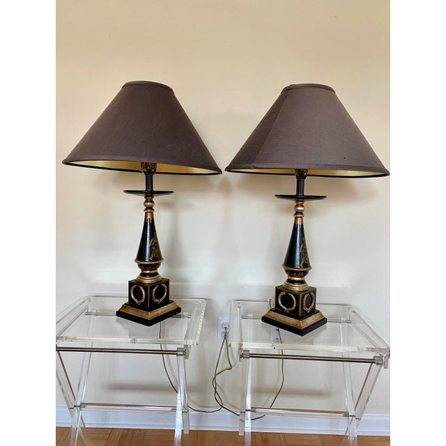 Italian Hand Painted Neoclassical Style Gilt Wood Lamps - a Pair For Sale - Image 13 of 13