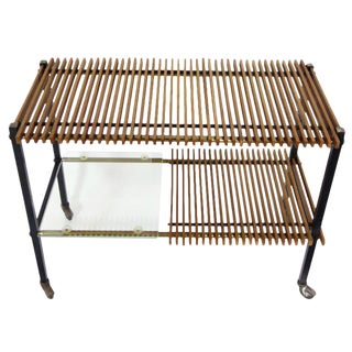 Mid Century Italian Wood Slat and Glass Console For Sale