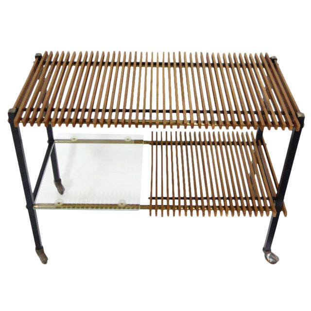 Mid Century Italian Wood Slat and Glass Console - Image 1 of 7
