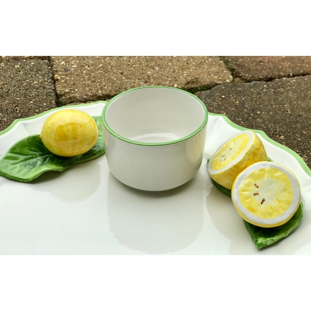Italian Ceramic Majolica Trompe L'oeil Lemons Serving Platter With Bowl For Sale - Image 4 of 8