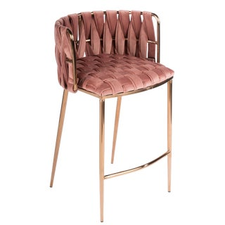 Milano Counter Chair in Rose and Gold For Sale