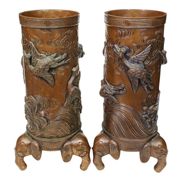 Early 20th Century Asian Antique Chinese Elephant Footed & Heron Bird Bronze Vases - a Pair For Sale