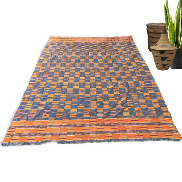 Vintage African Textile Kente Cloth Cotton Fabric / Blanket - Image 2 of 10