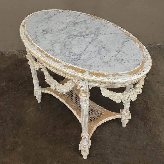 19th Century French Louis XVI Marble Top Table For Sale In Dallas - Image 6 of 13