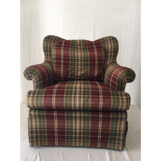 Sherrill Plaid Accent Chair For Sale - Image 5 of 8