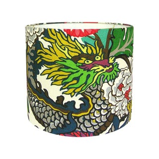 Custom Alabaster Floral Chiang Mai Drum Lamp Shade For Sale