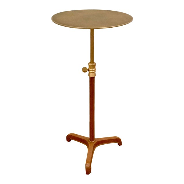 Arteriors Home Modern Leather and Antique Brass Addison Adjustable Accent Table For Sale